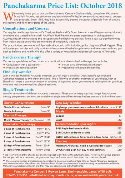 Maharishi AyurVeda Health Centre Price List, October 2017