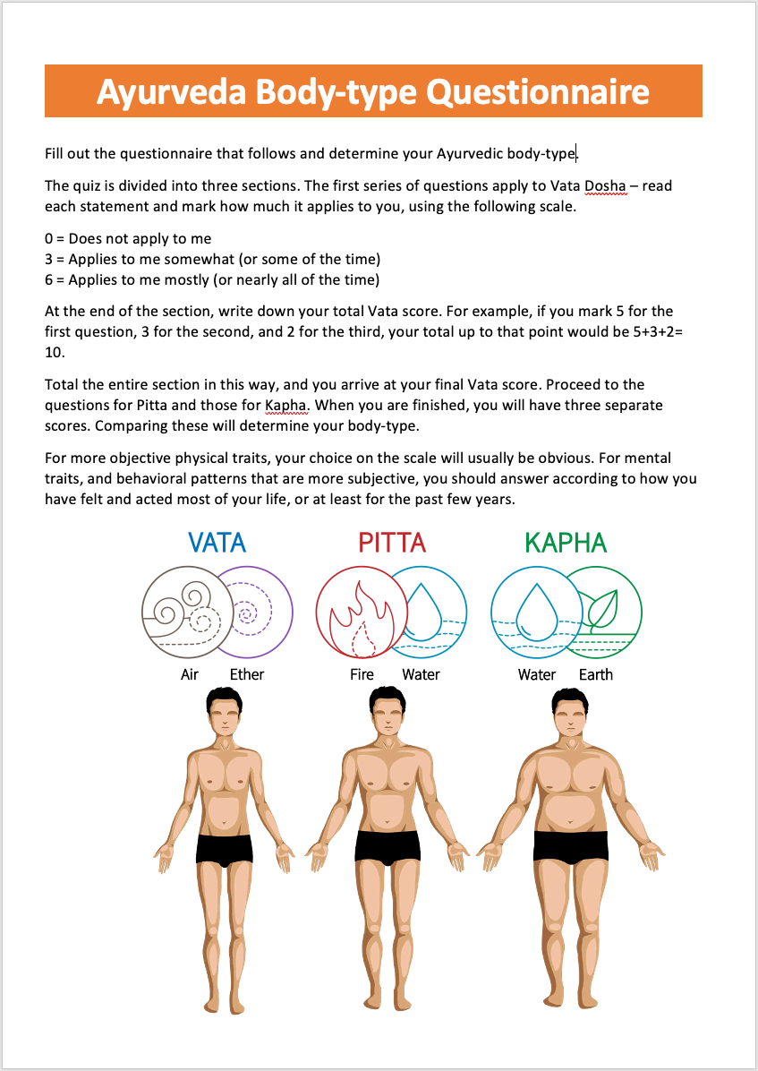 Ayurveda Body-type Questionnaire by Dr Amitha Rudraraju